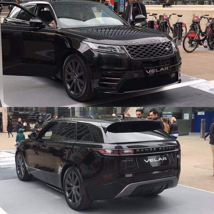 the range rover velar on display at canary wharf in london. Black Bedroom Furniture Sets. Home Design Ideas